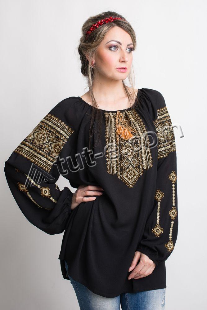 Шифоновая черная женская блуза - Изображение 2