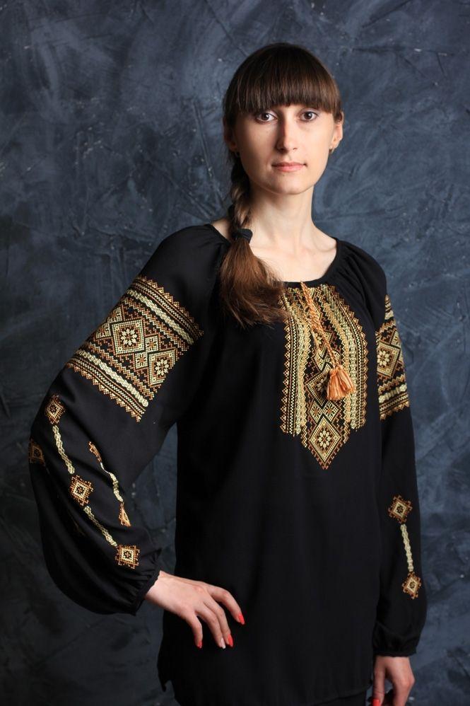 Шифоновая черная женская блуза