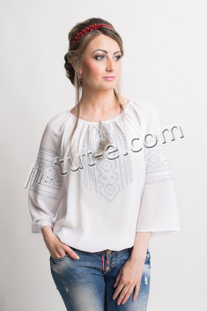 Блуза женская белый шифон