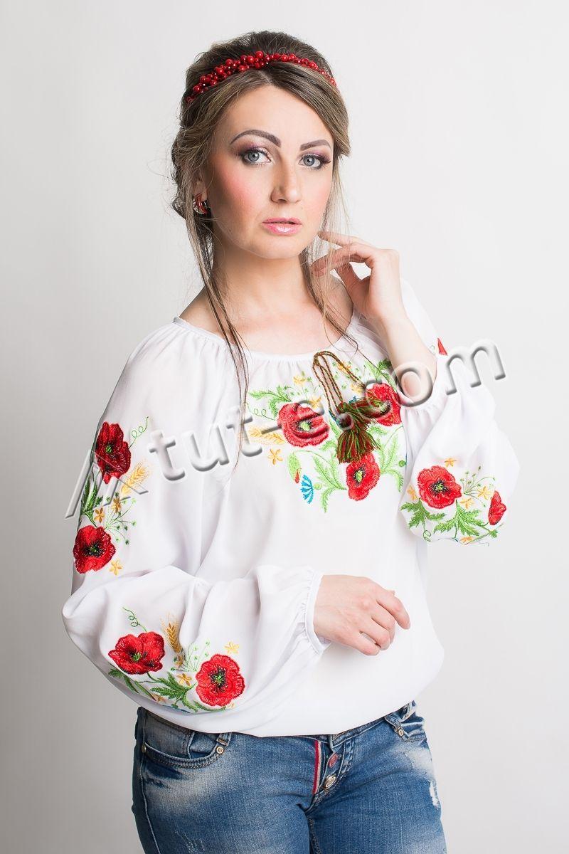 Блуза шифон маки