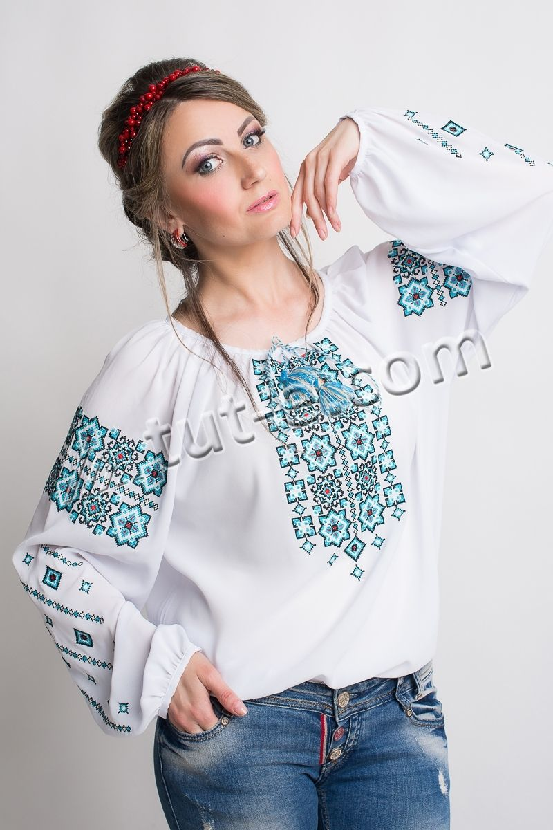 Блуза крестик голубой