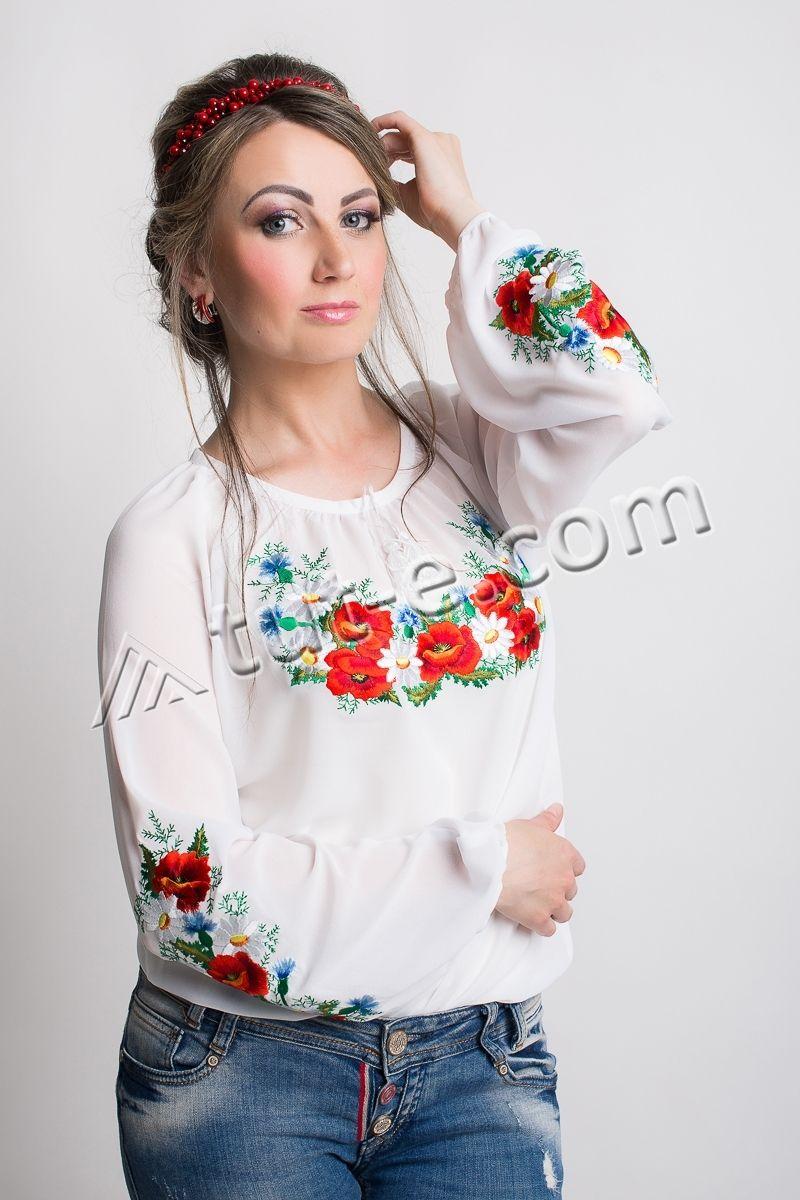 Блуза шифон полевые цветы