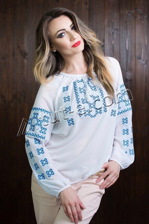Белая женская шифоновая блуза