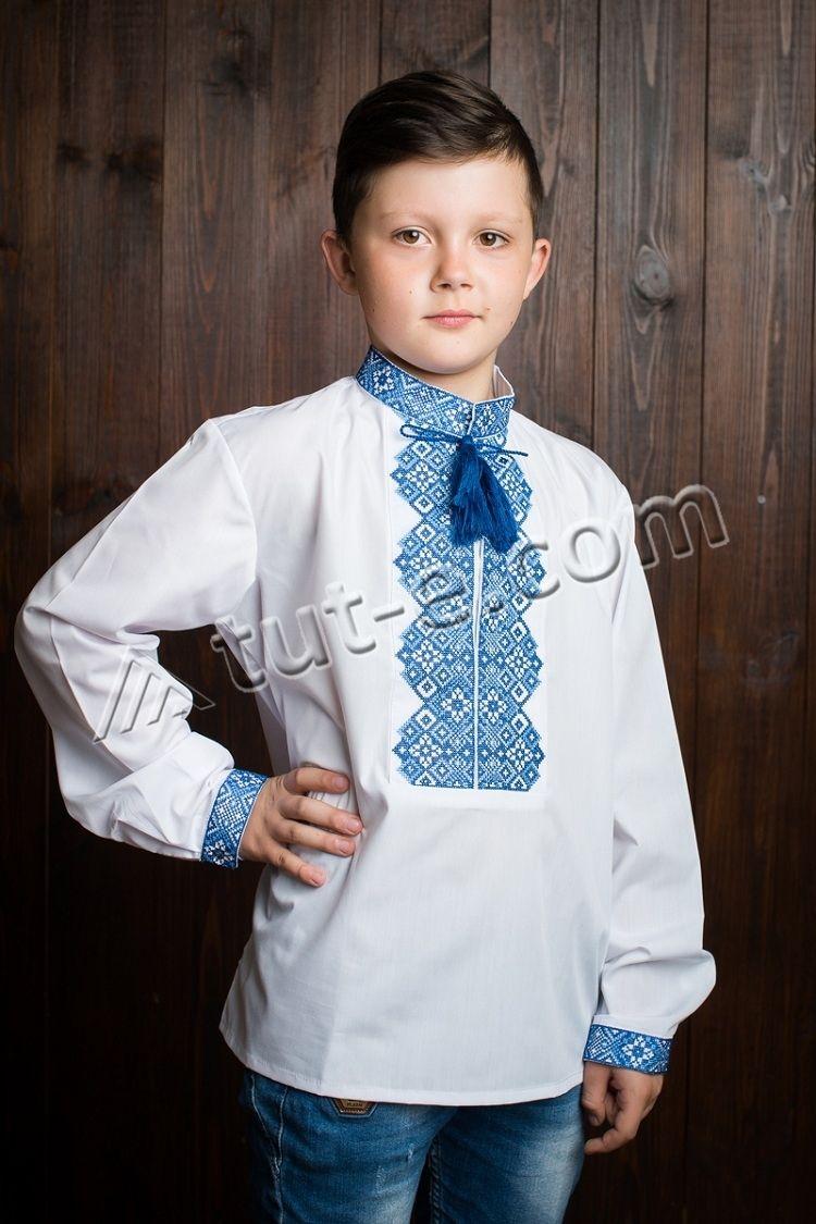 Белая рубашка-вышиванка для мальчика