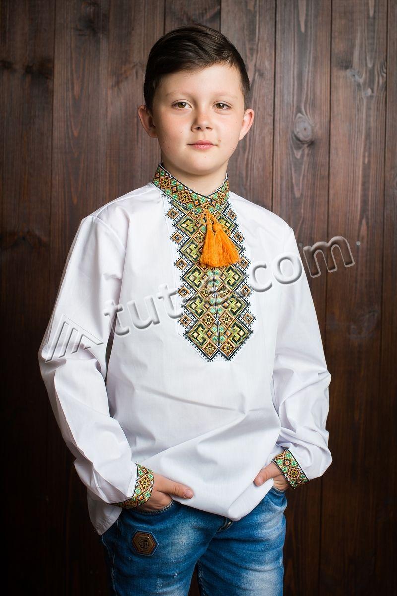 Рубашка из батиста на мальчика зеленовато-жолтый