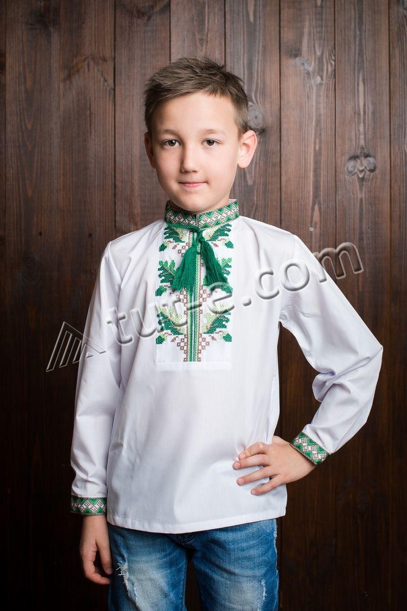Рубашка для мальчика дубки зелёные