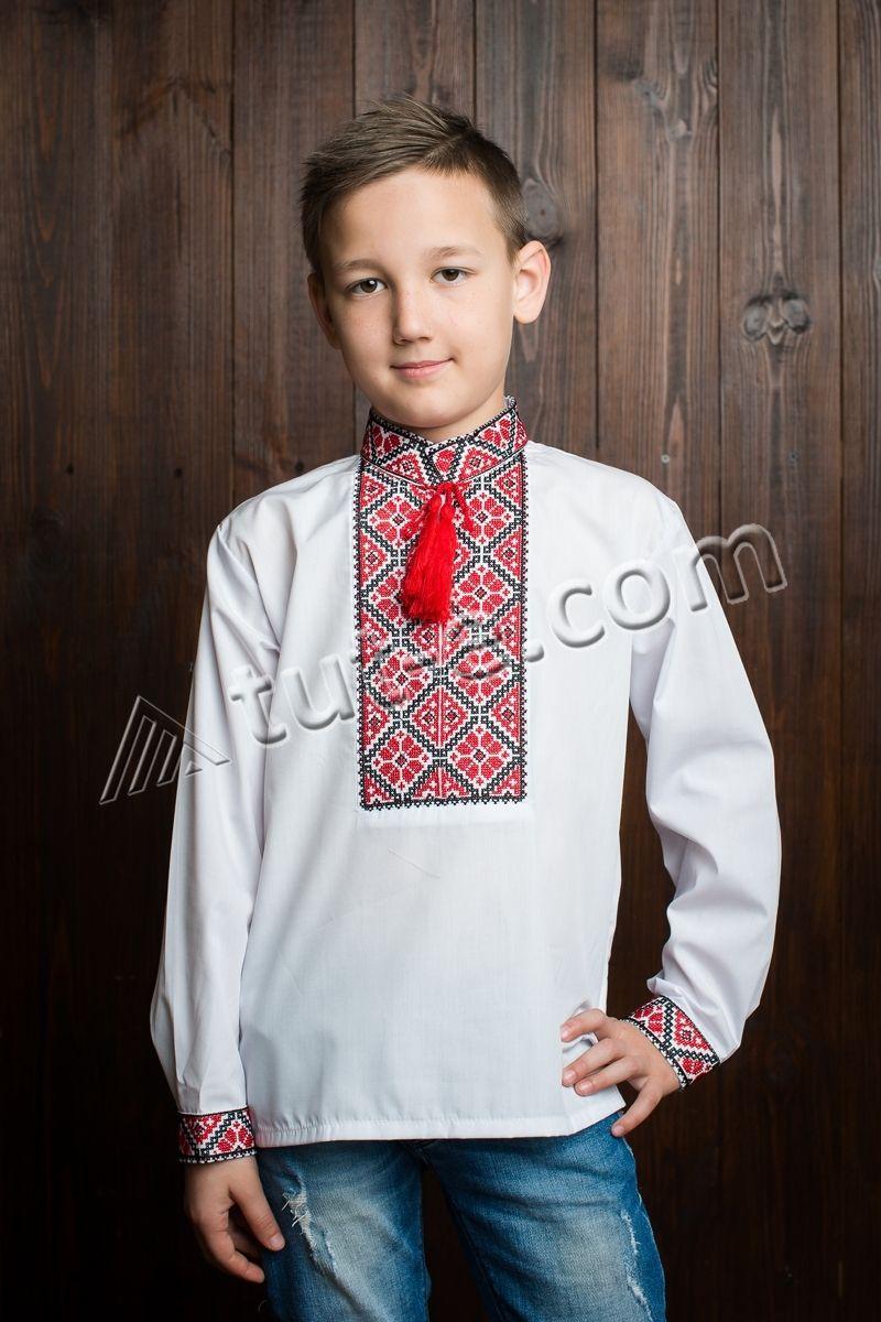 Рубашка с длинным рукавом для мальчика красный ромбик