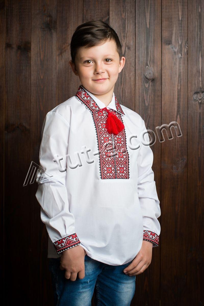 Вышиванка с воротником для мальчика красная вышивка