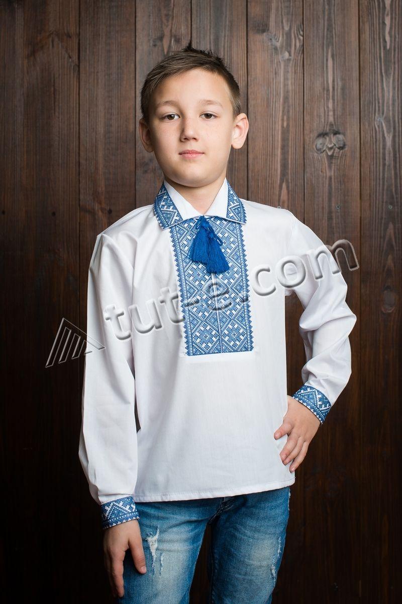 рубашка-вышиванка для мальчика синий воротник
