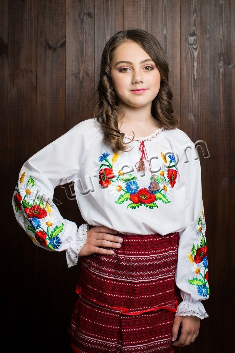 Детская вышитая блуза мак колос