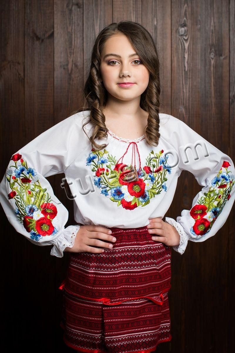 Блуза вышитая для девочки водоросли