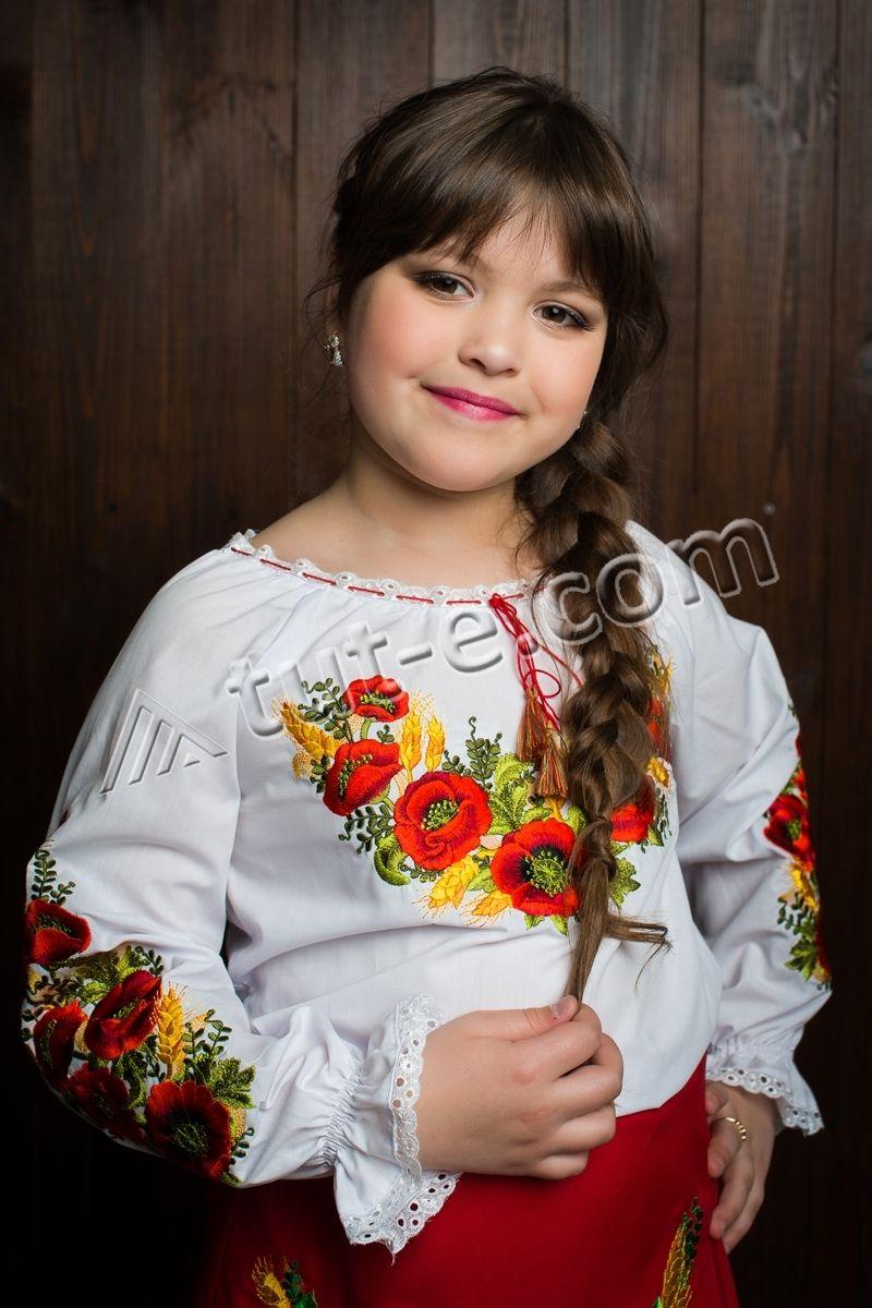 Детская вышитая блуза мак колос новая