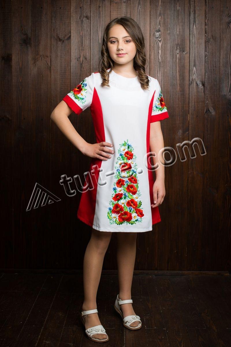 Детское вышитое платье мак-ромашка
