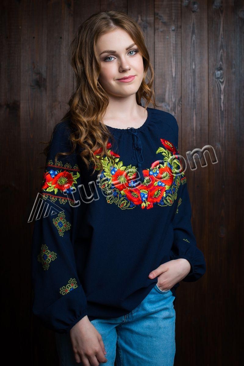 Шифоновая блуза-вышиванка черничка