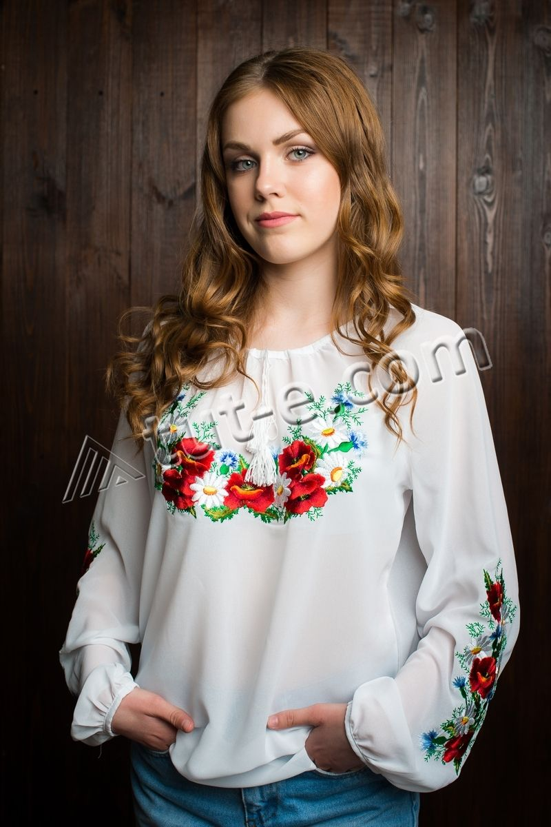 Блуза шифон полевые цветы подросток