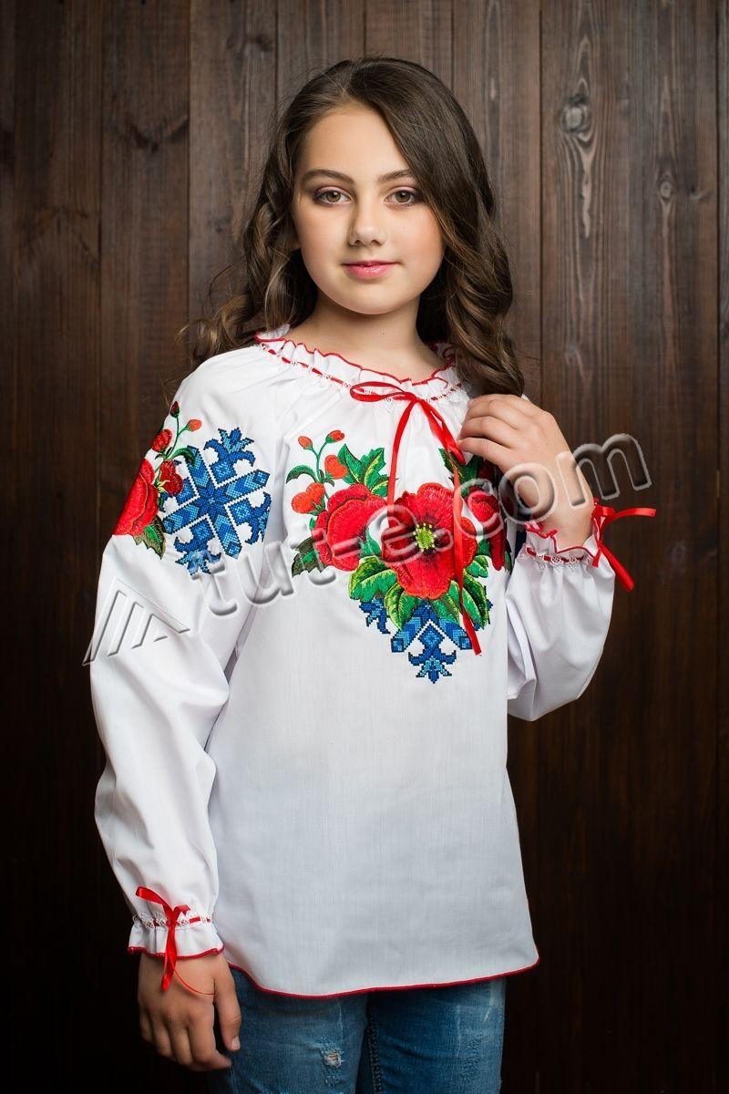 Блуза подростковая мак большой красный