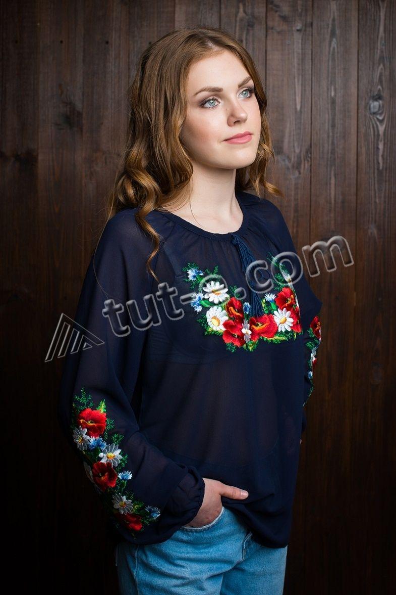 Блуза шифоновая синяя полевые цветы