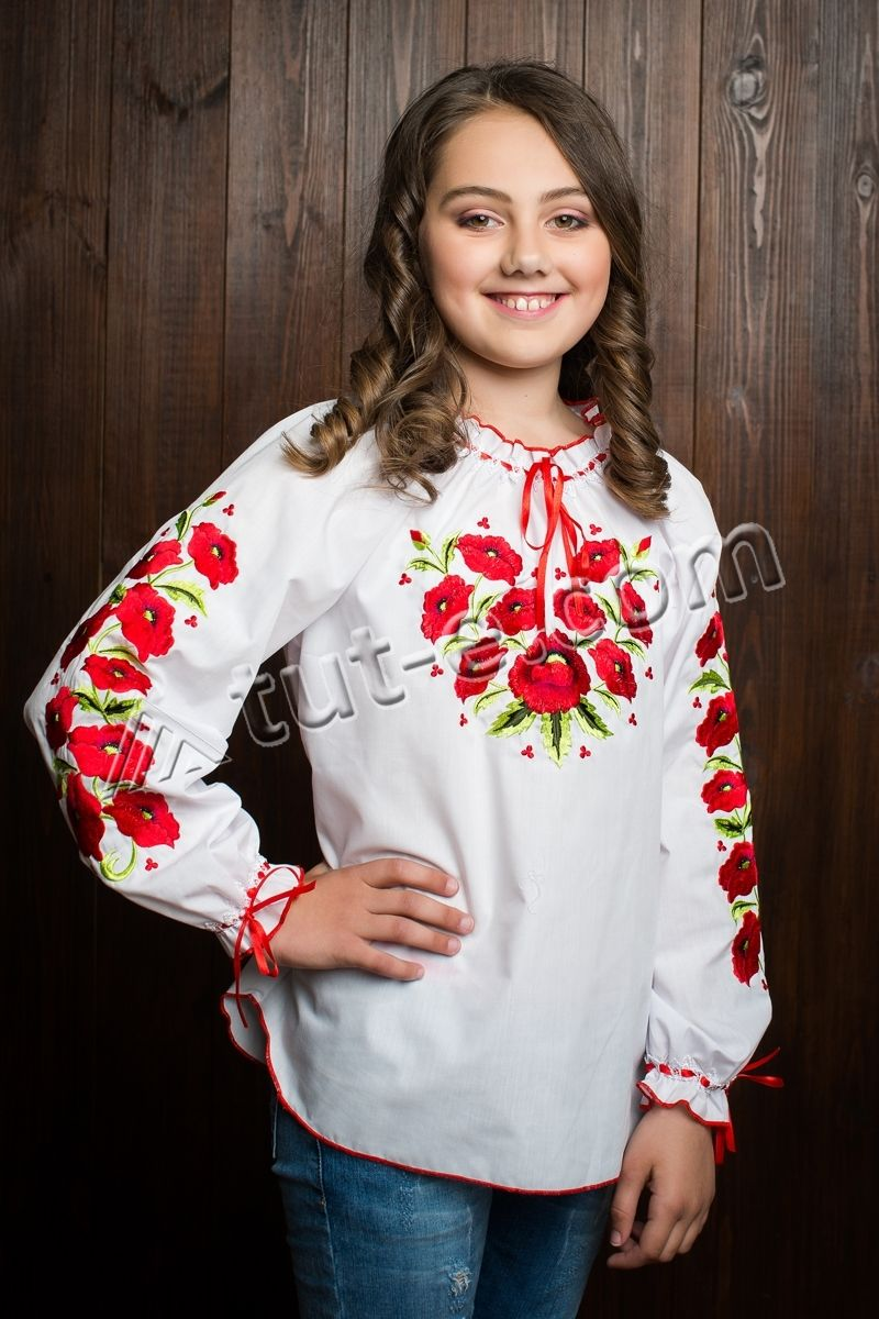 Блуза подростковая маки