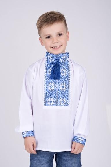 Вышиванка на мальчика голубой орнамент