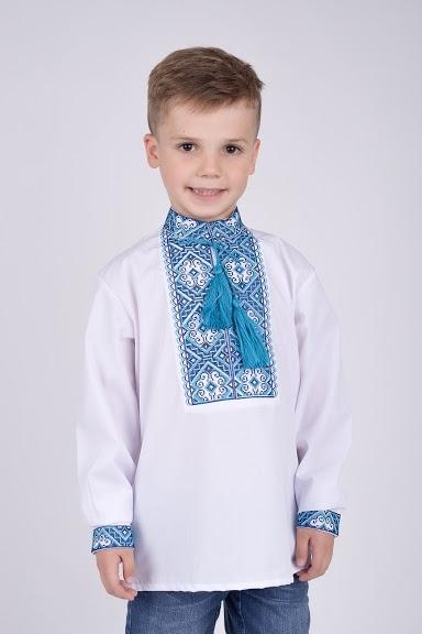 Вышиванка на мальчика синяя вышивка