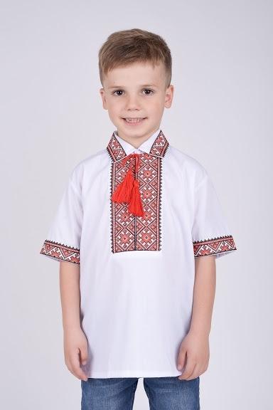 Вышиванка на мальчика красный орнамент