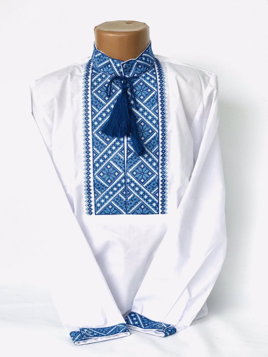 Вишиванка для хлопчика з голубою вишивкою